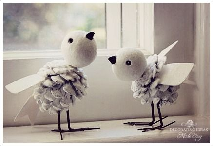 Super cute DIY birds, could be great craft to do with kids to decorate the home!