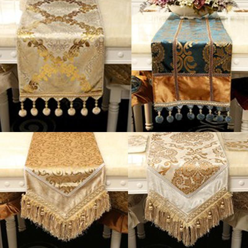 new navy blue wine red gold long table cloth table cloth table runner european luxury coffee table tv cabinet wallpapers - Discount Table Linens