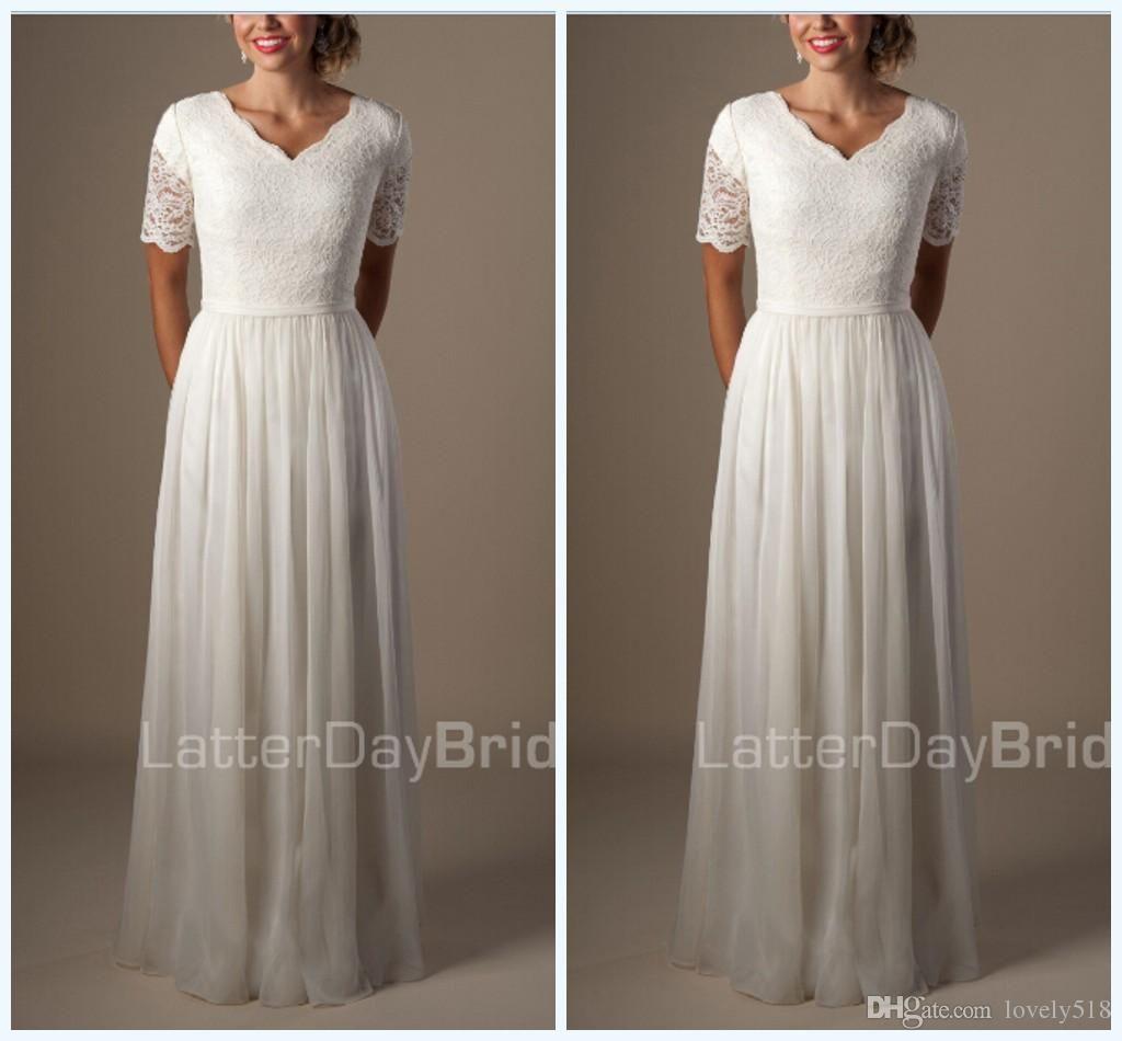 Großhandel Modest Anna Campbell Brautkleider 2015 Strand A Line ...
