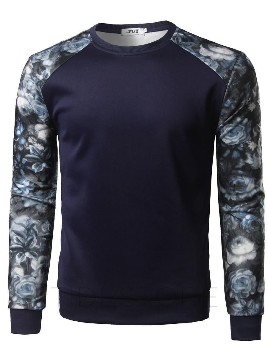 tidestore - tidestore Patchwork Round Neck Floral Mens T-shirt - AdoreWe.com