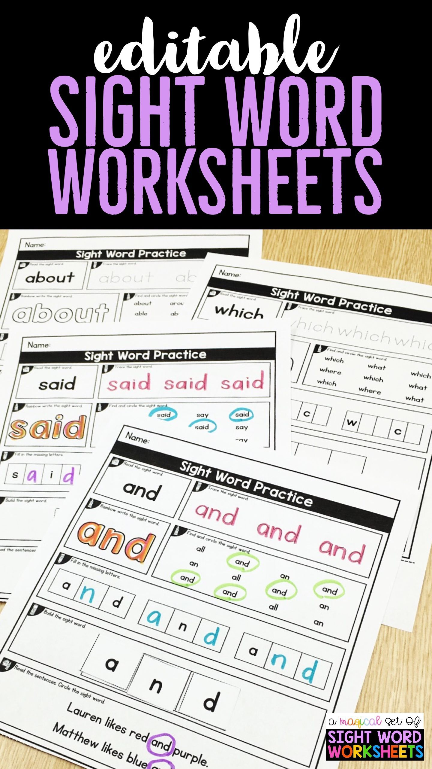 Sight Word Worksheets For Kindergarten First Grade