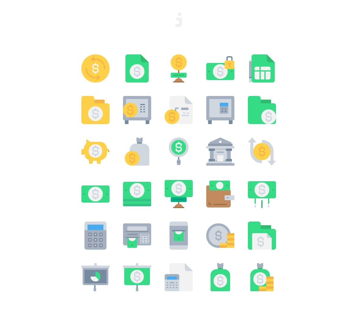 30 bank and finance icons flat by justicon on envato