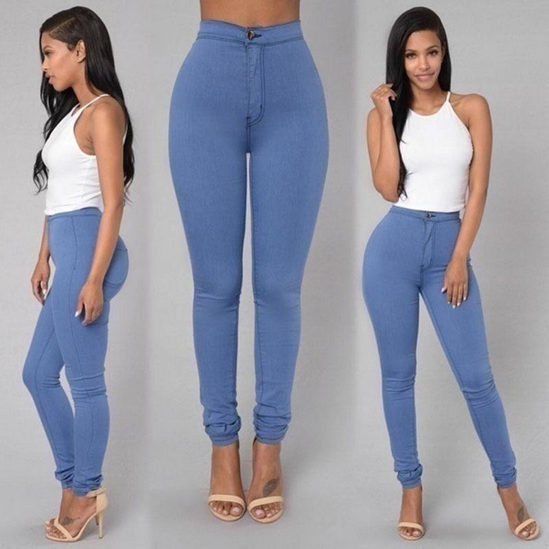 38815a2c86d comprar 2018 sólido lavado Skinny Jeans mujer alta cintura invierno Denim  Pantalones Plus Size Push Up pantalones Bodycon pantalones lápiz caliente  mujer