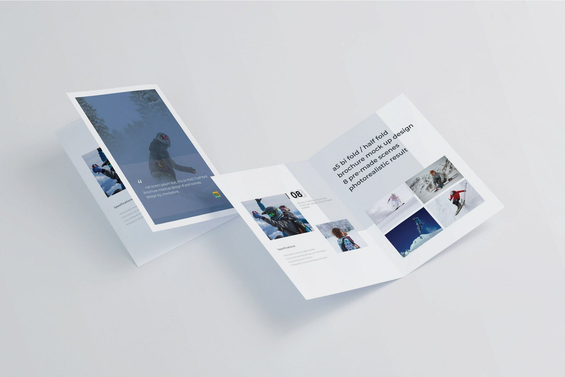 A5 Bifold/Half-Fold Brochure Mockup #Separated#Fully#Objects