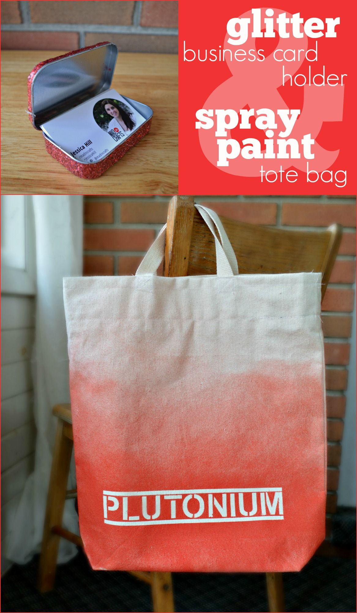 glitter business card holder and plutonium™ paint tote bag by mad