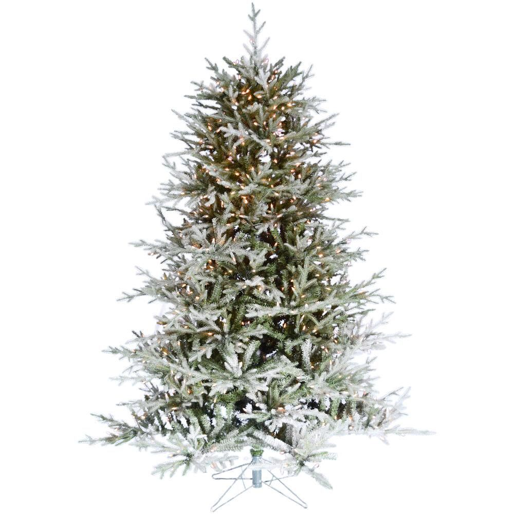 Fraser Hill Farm 7.5 ft. Pre-Lit LED Highland Frosted Green Christmas Tree with Warm White ...