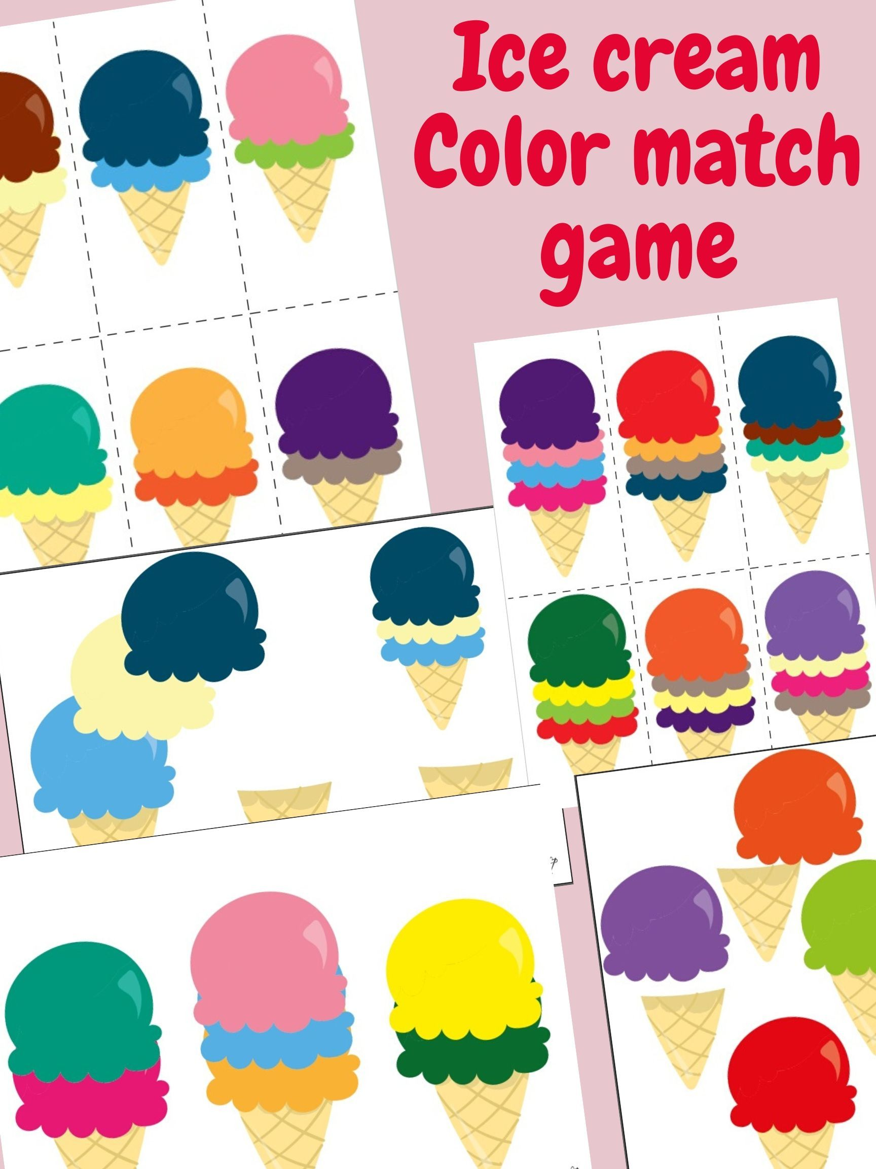 Ice Cream Color Matching Game Printable Busy Book Color
