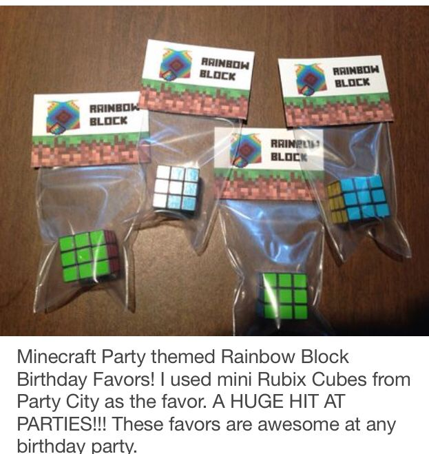 Minecraft Party Favors, Minecraft Party