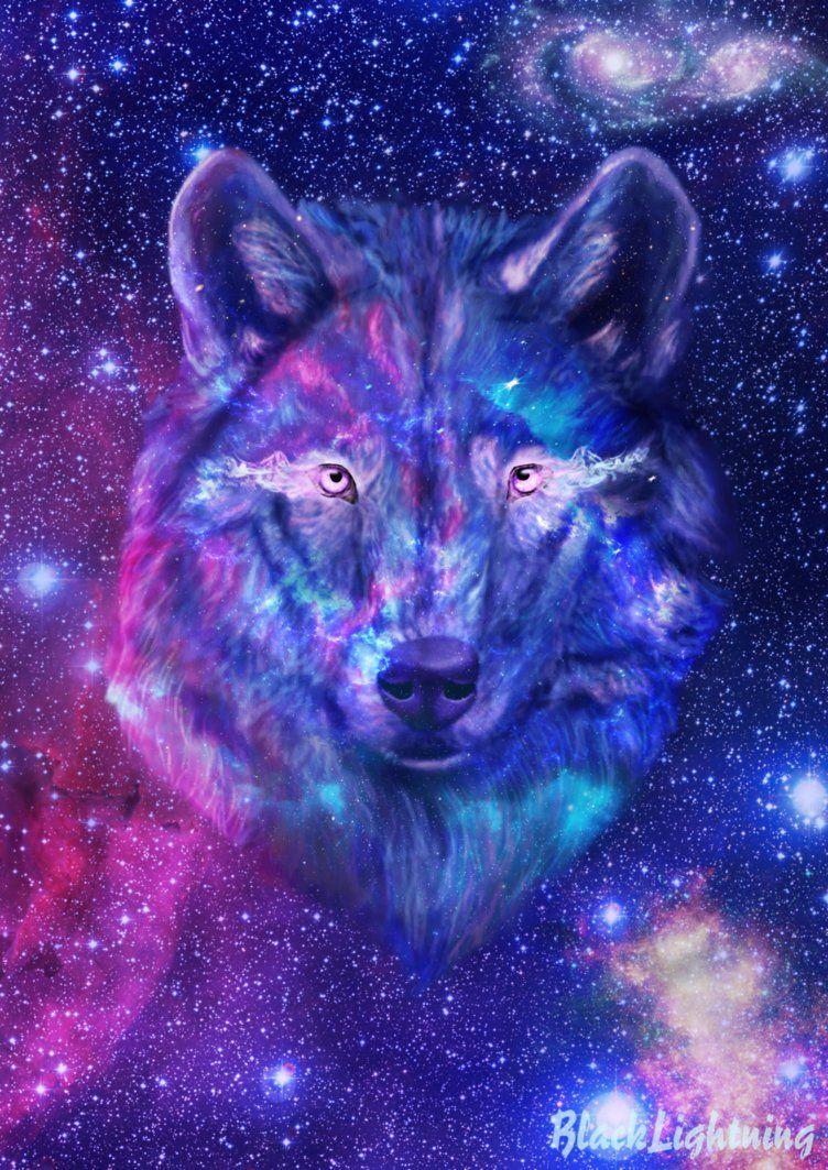 Galaxy Wolf By Blacklightning95 On Deviantart Galaxy Wolf Wolf Wallpaper Anime Wolf Girl