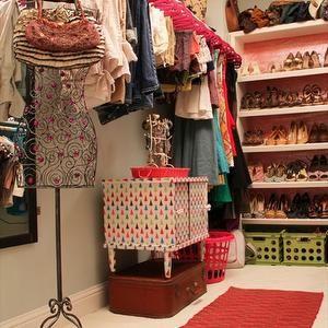 closets - Organization, Aqua, Fuchsia, Shoe shelf, Shoe rack, Closet rods, Cubbies, Laundry chute, Cubby, Storage, Rug runner, Jewelry, Hooks, Jewelry tree, pink hangers, pink clothes hangers, eclectic closet,