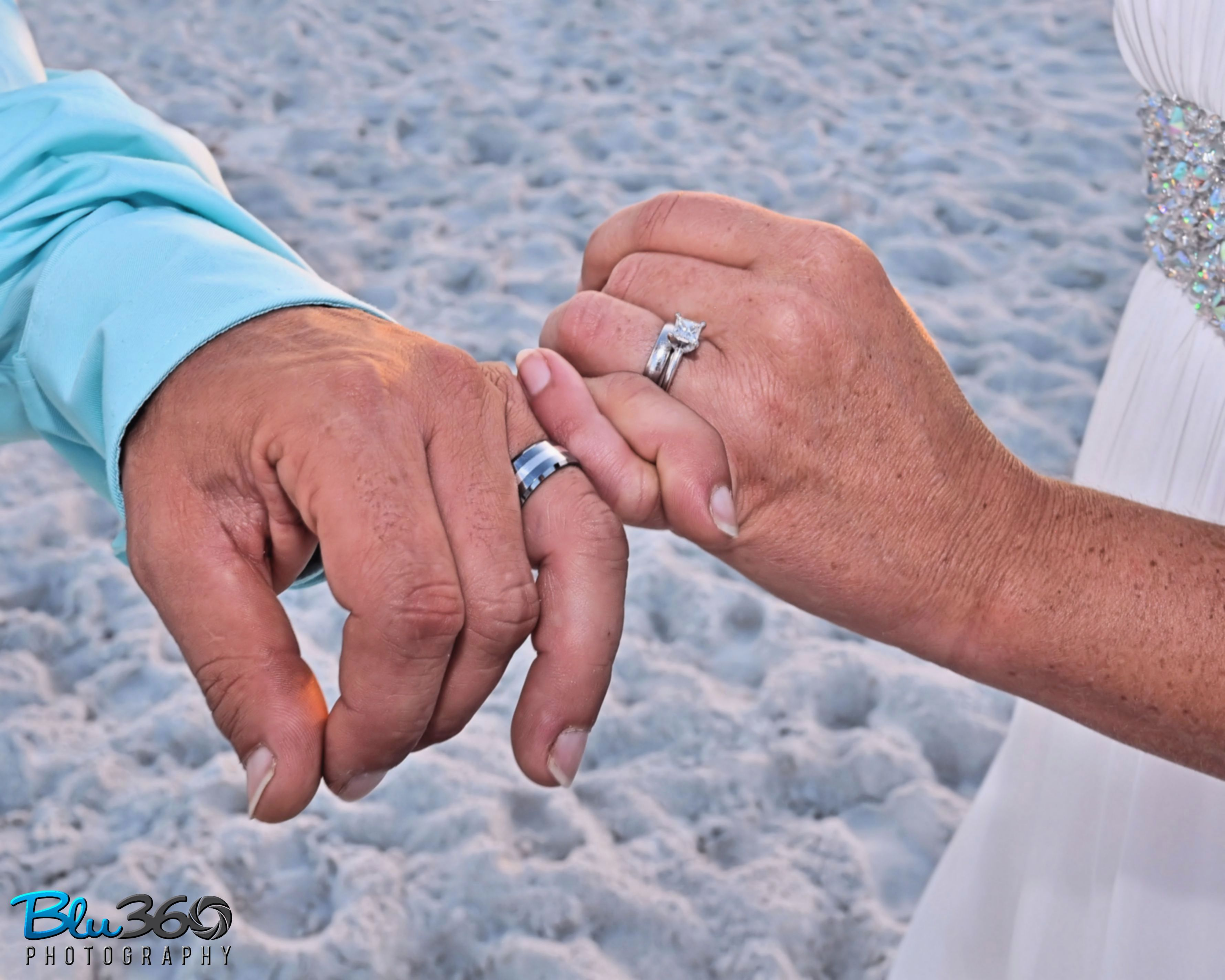 The wedding couple hands with rings Hands with rings