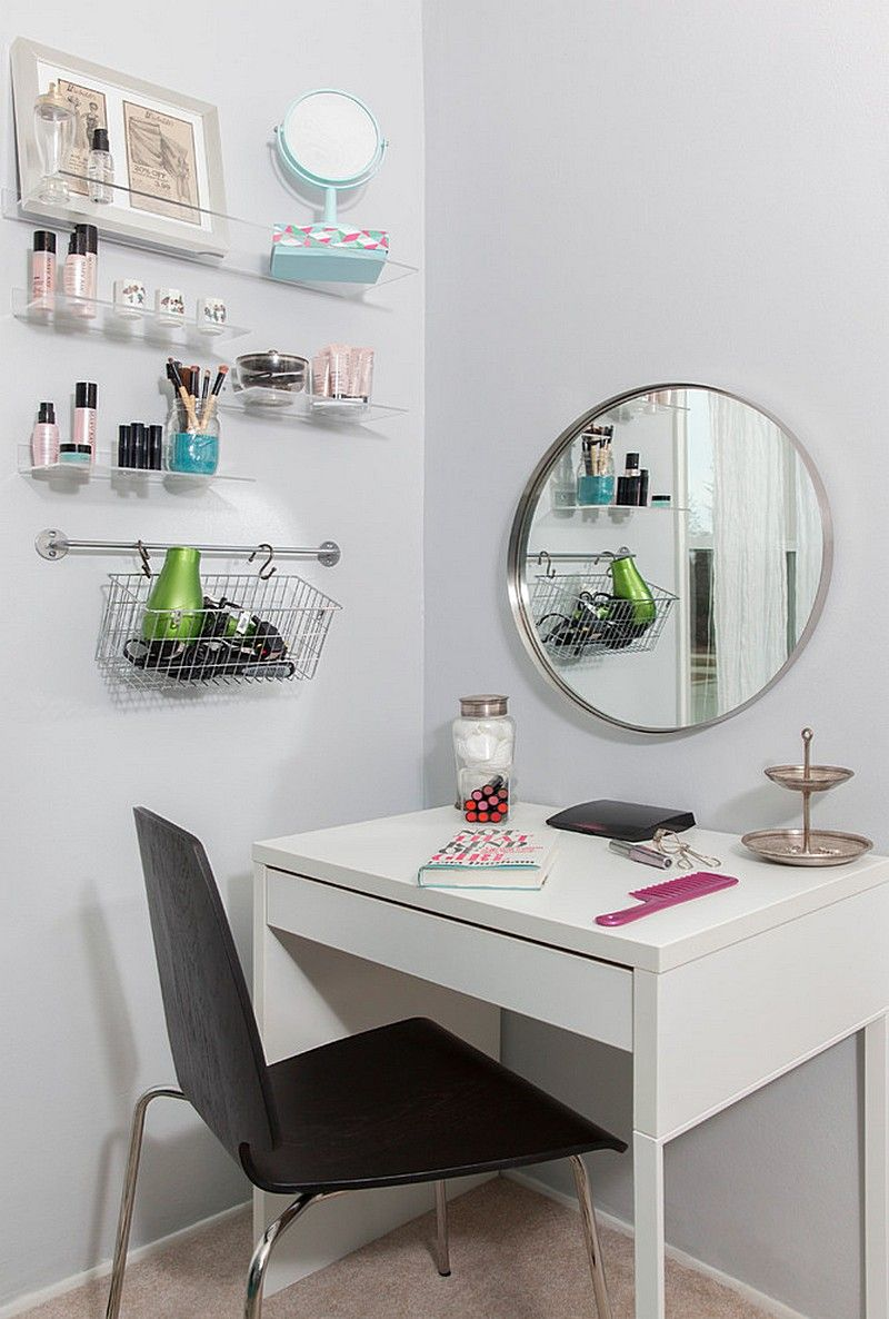 IKEA Micke As Vanity Desk In White Room With Large Grundtal Mirror