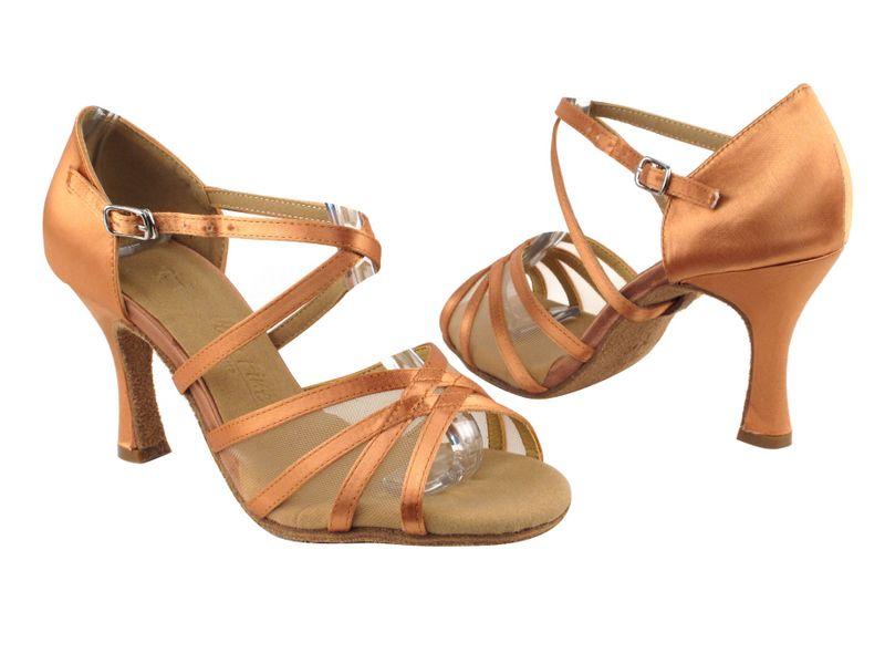 07598b384a568b SERA1605 Tan Satin  amp  Flesh Mesh Latin Shoes