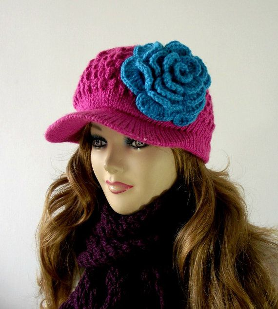 Knitting Hat Pattern Newsboy Knitted Hat With By Liliacraftparty
