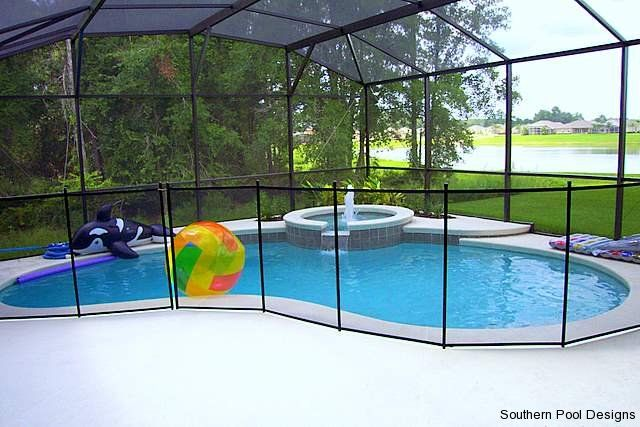 Kidney Shaped Pool With Spa And Enclosure Awesome