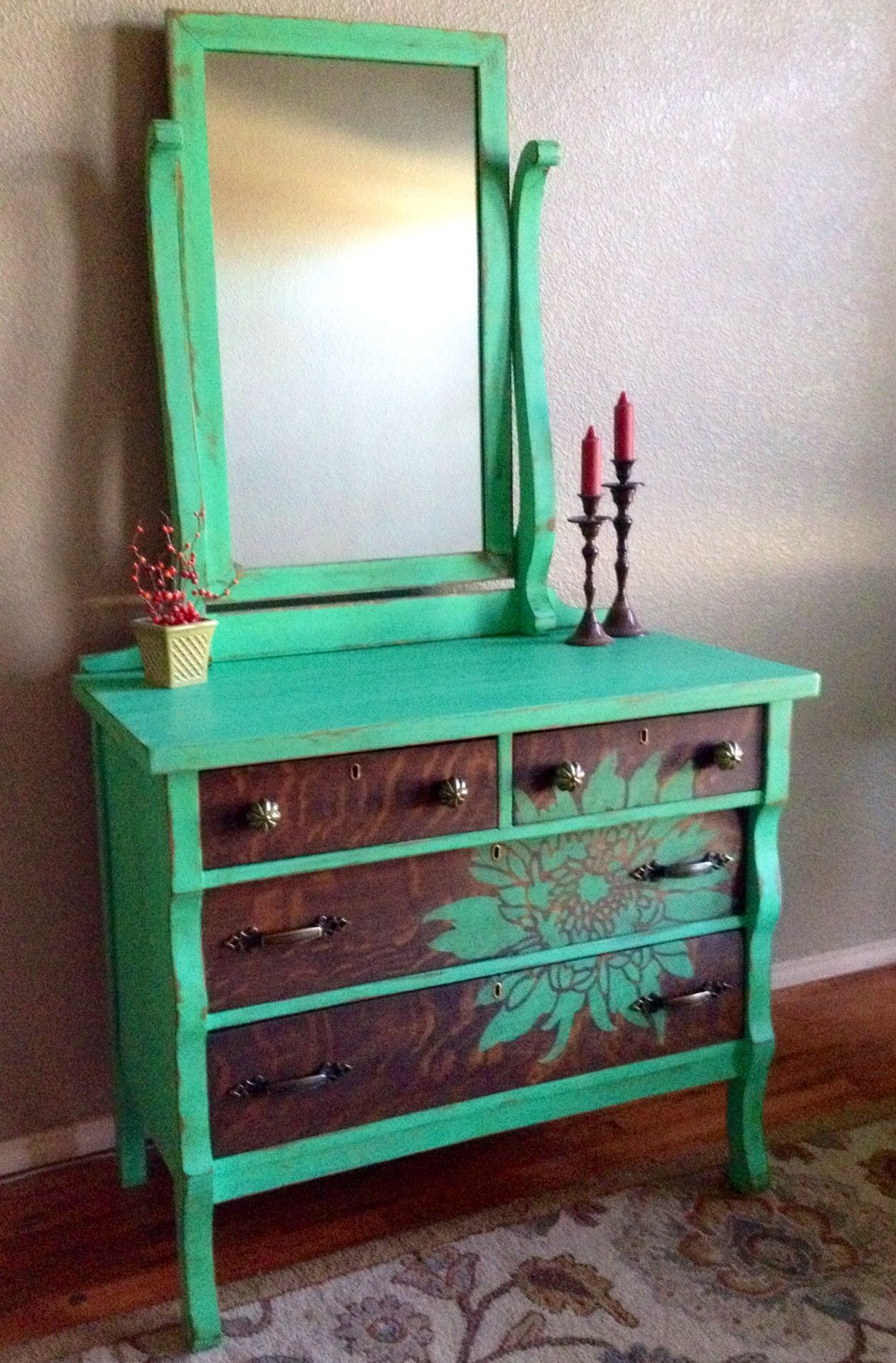 Antique Dresser Painted Intense Jade (by Behr), Drawers Stained Dark  Walnut, Chrysanthemum