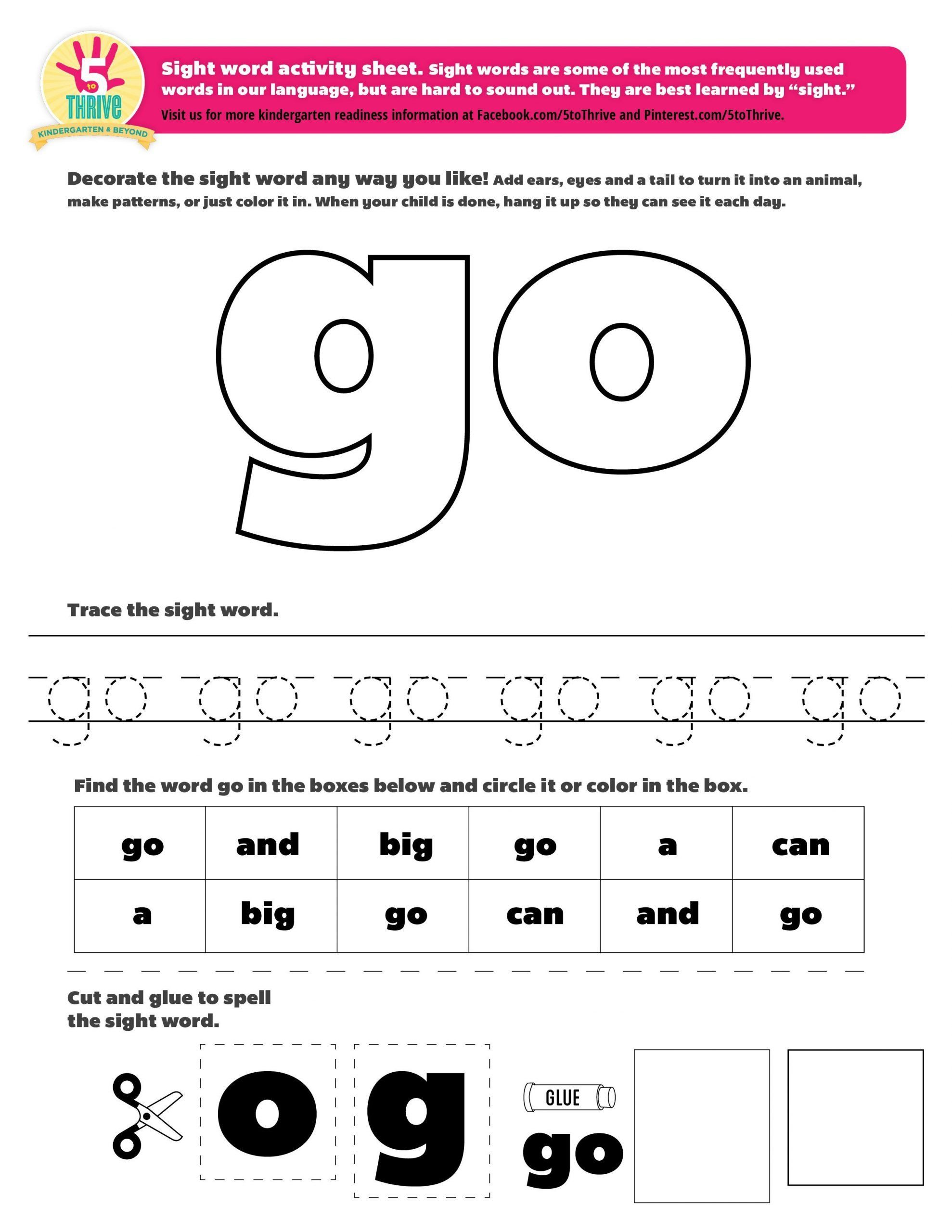 We Sight Word Worksheet The Sight Word This Week Is Go