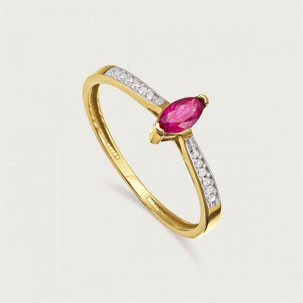 76a06a007f5 Anel em Ouro 18K (750) Com Diamantes e Rubi