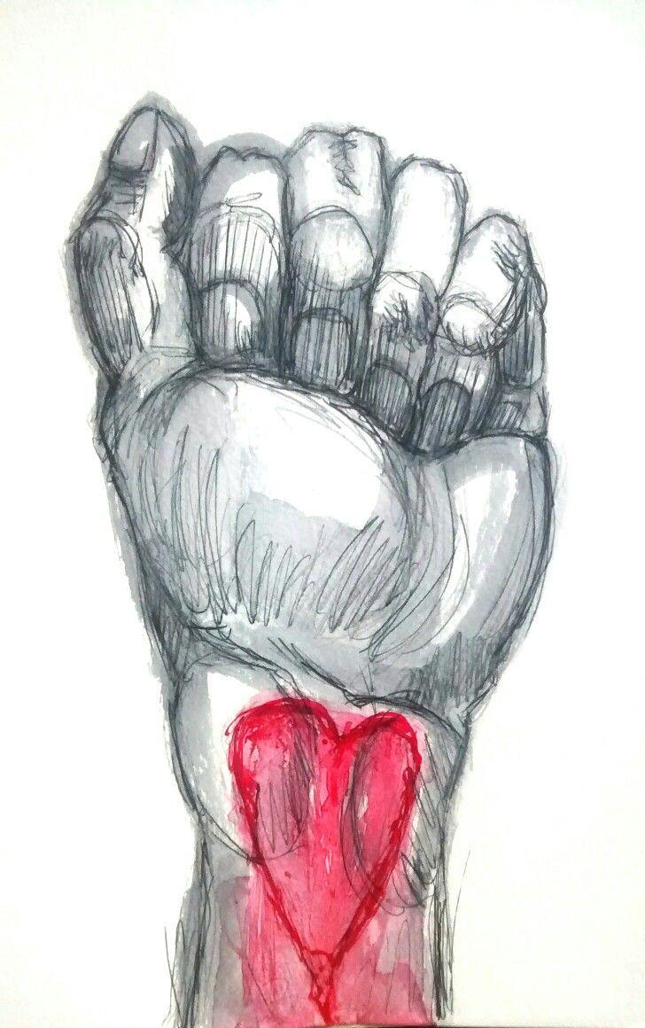 Derek Hess inspiration, ink on paper, love