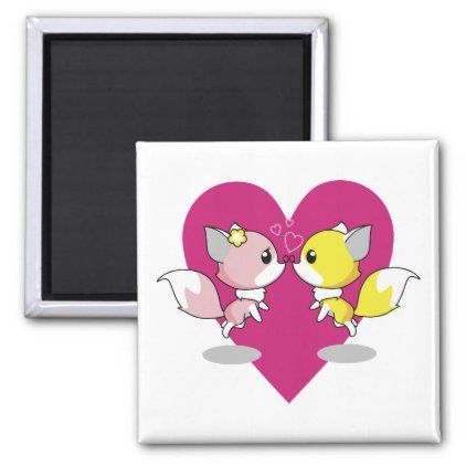 Photo of Valentine's Day kawaii in love with pink heart Magnet | Zazz…