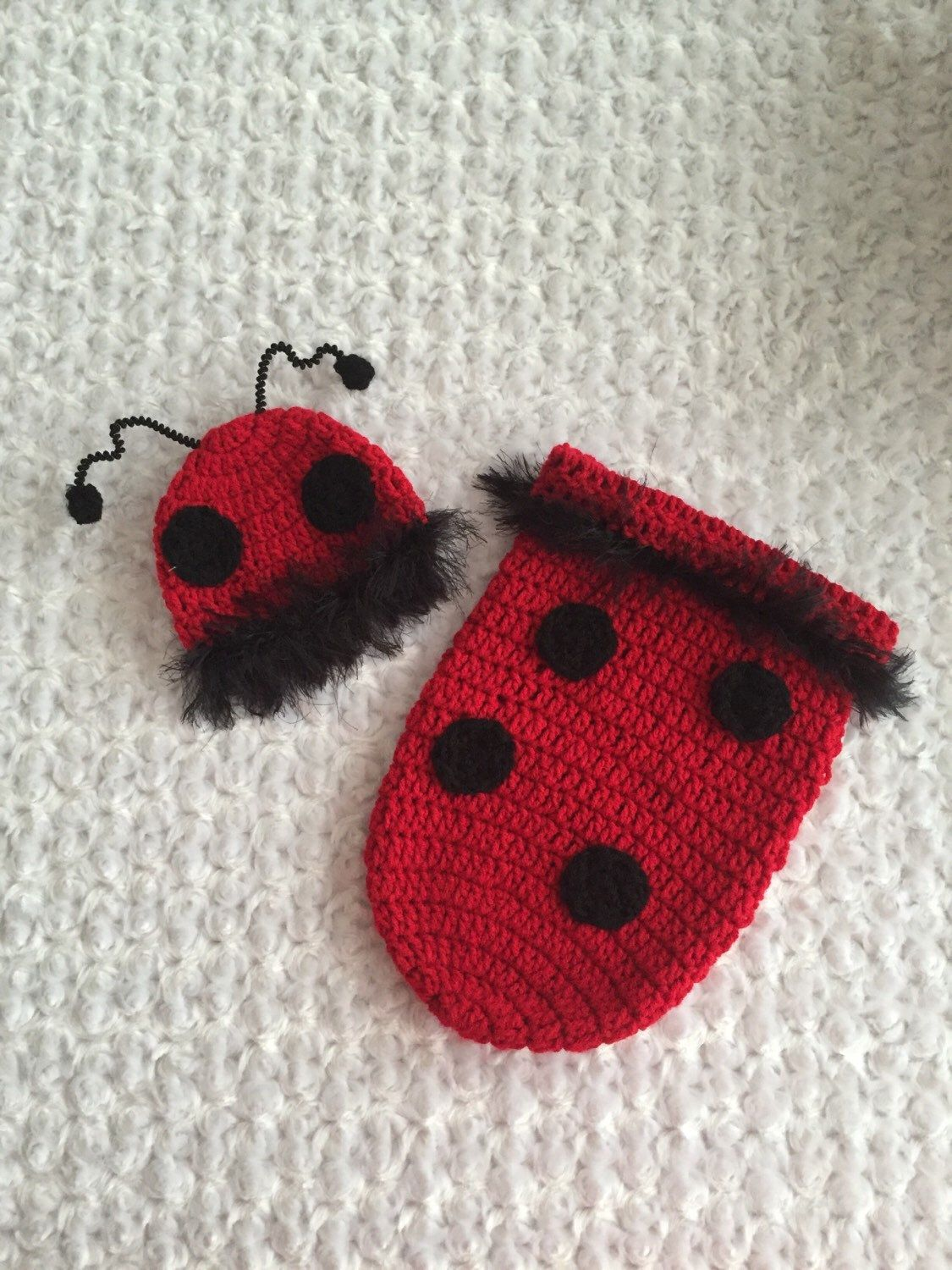 Ladybug Cocoon + Hat Set Baby Girl Photo Prop Handmade Crocheted Ready To  Ship Made in the USA ef0e1993d630