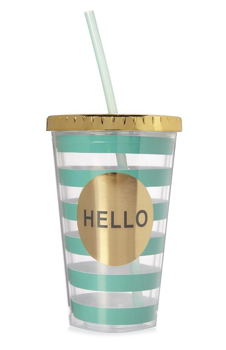 3primark vaso con pajita metalizado a rayas hello
