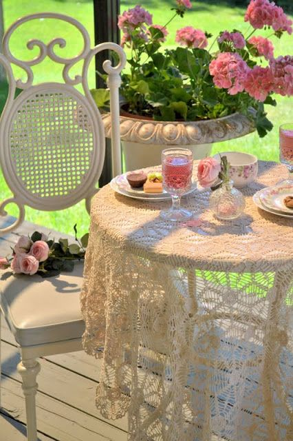Summertime garden table with vintage lace.