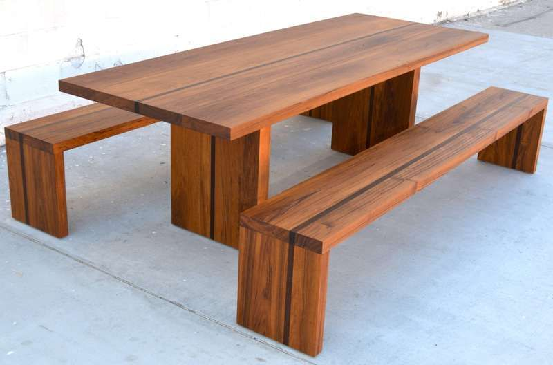 Outdoor Table And Benches In Teak And Wenge Custom Made By Petersen