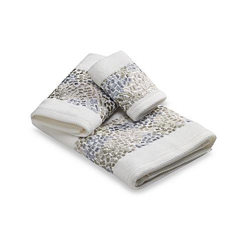 Croscill Spa Tile Bath Towel Collection L Coastal Bathrooms L Www - Thick bath towels for small bathroom ideas