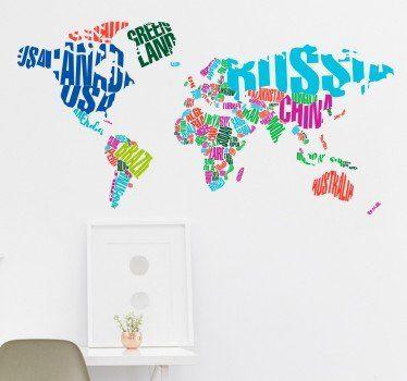 Wandtattoo Weltkarte bunt Noah Pinterest Wandtattoo - wandtattoo wohnzimmer retro