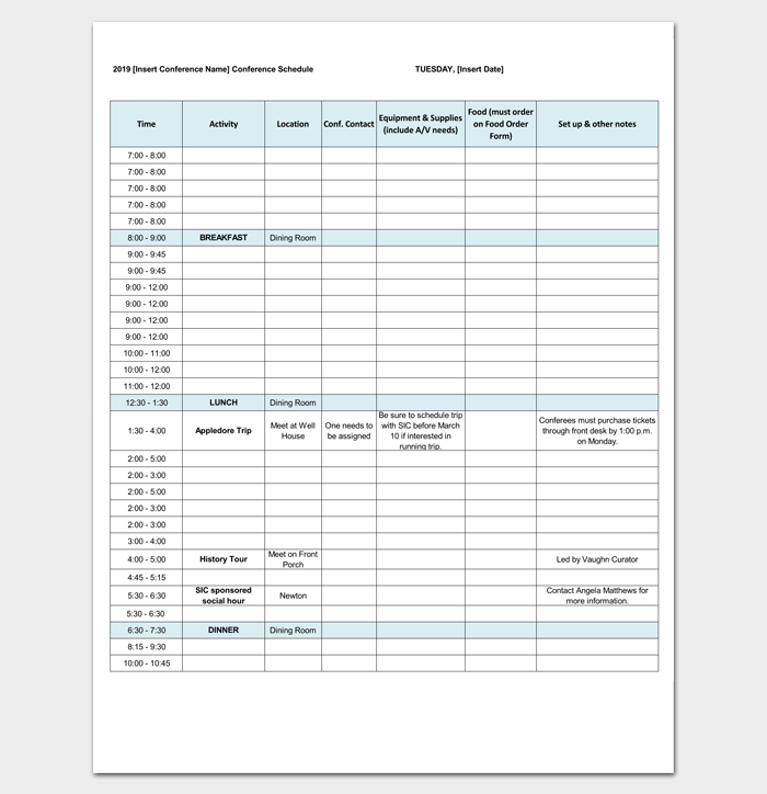 Conference Agenda Outline Excel Format  Outline Templates