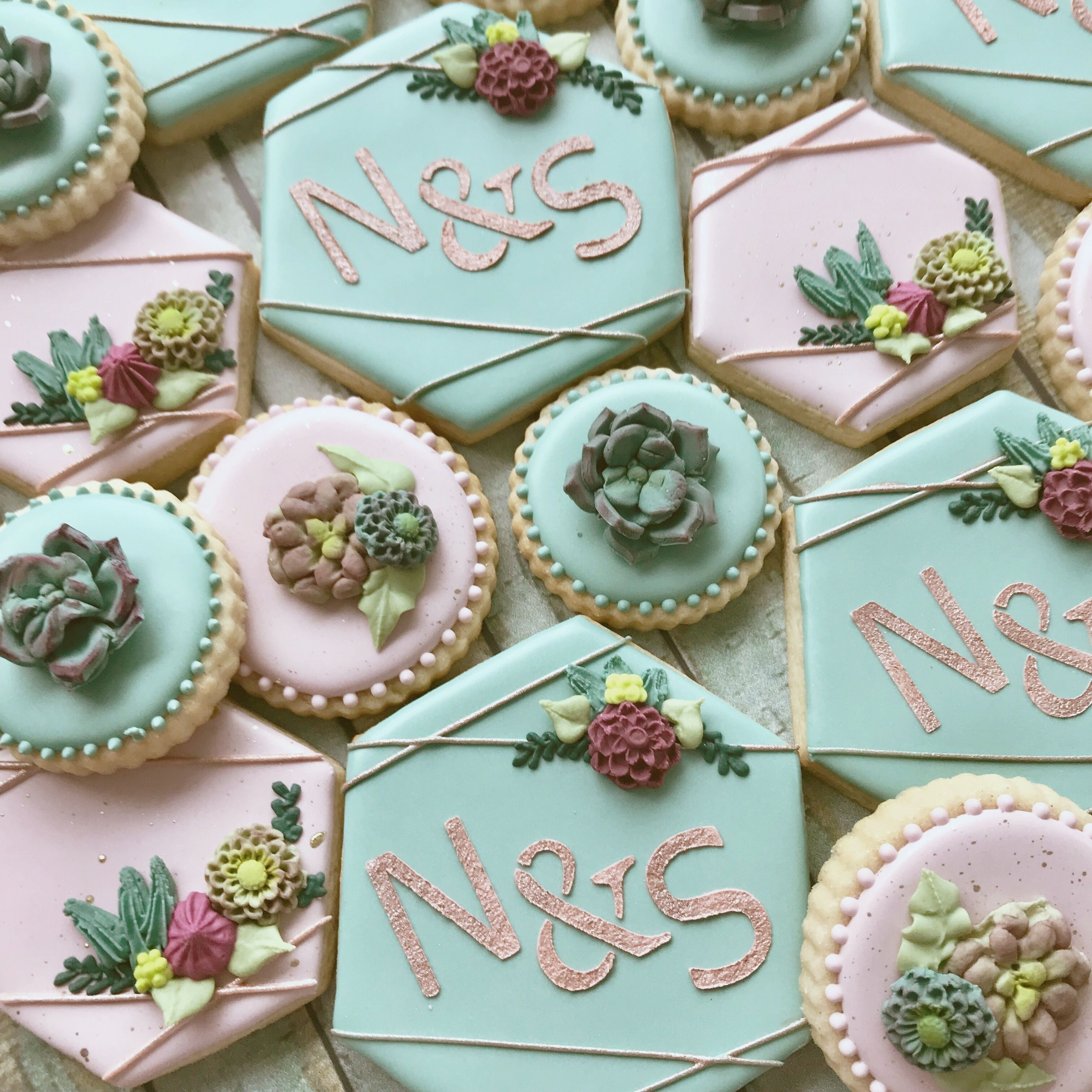 Bridal shower succulents decorated cookies wedding