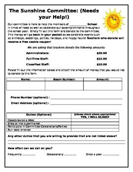 Does Your School Have A Sunshine Committee For The Staff Help The