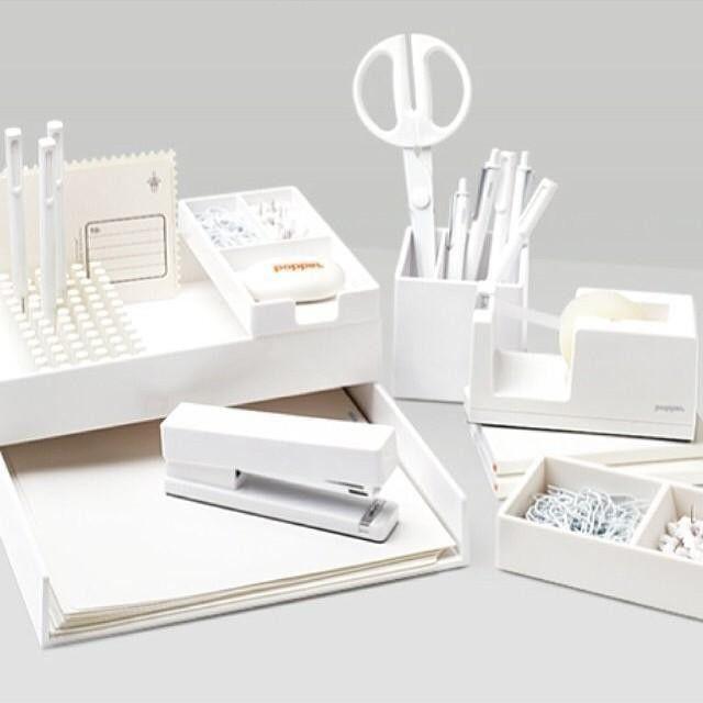 White Stapler Staplers Staple Removers Poppin Desk Organizer Set Study Room Decor Office Furniture Modern