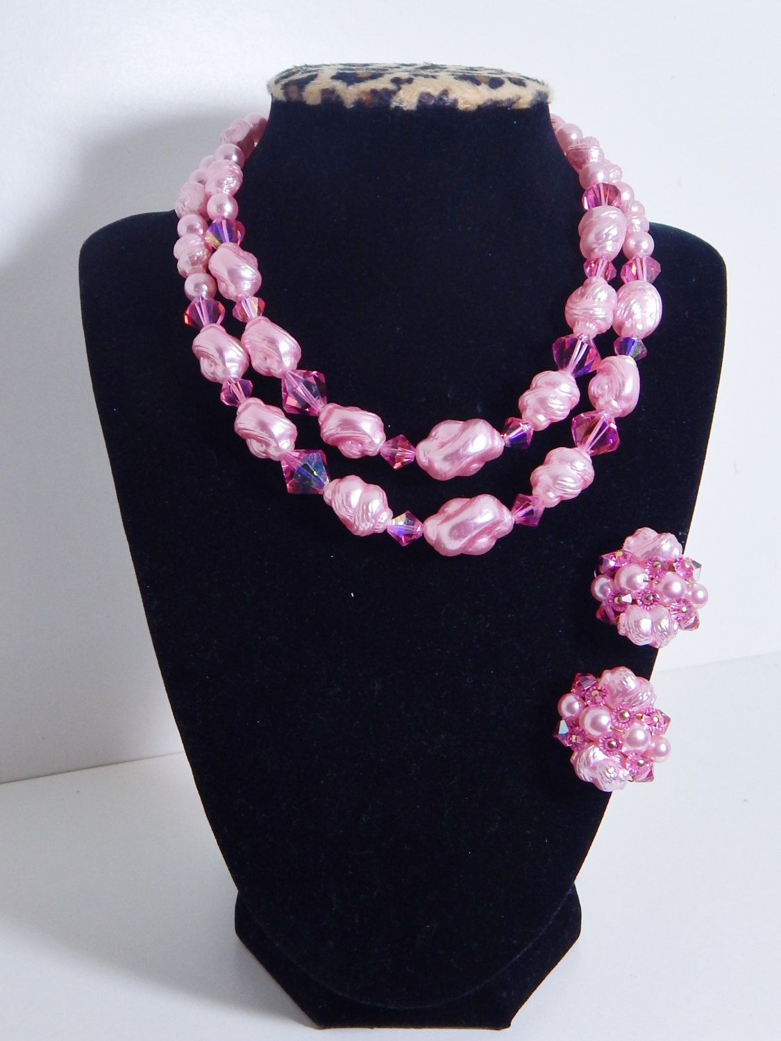 Vintage Necklace & Earring Set Pink Demi Parure Double Strand Sparkling Crystals Pink Mid Century Jewelry by OffbeatAvenue on Etsy