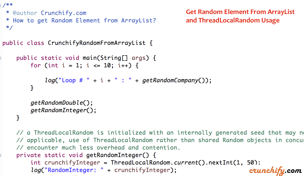 In Java How To Get Random Element From Arraylist And