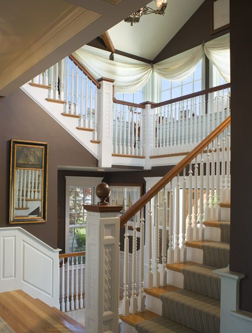 Gorgeous Staircase Window Treatment Is A Sail For Dreaming