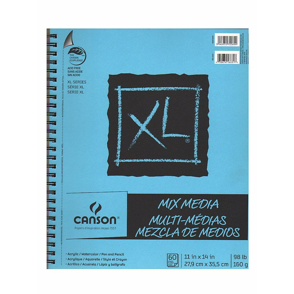 Canson Xl Series Mix Media Pad Canson Xl Mix Media Pads 11 X 14 60 Sheets Pack Of 2 Mixed