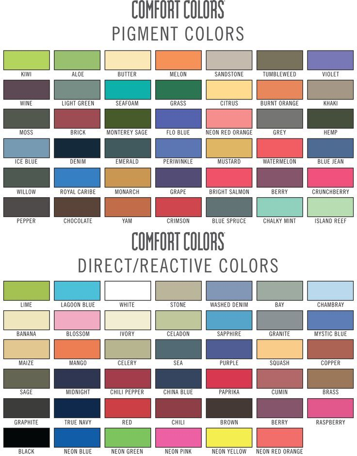 Comfortcolors color chart comfort colors t shirt chart tee