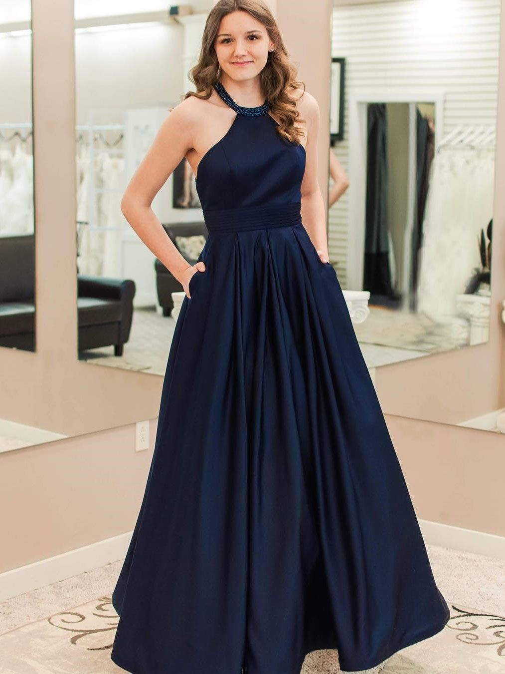 Elegant Prom Dress,Halter Prom Dress,Navy Blue Prom Dress with ...