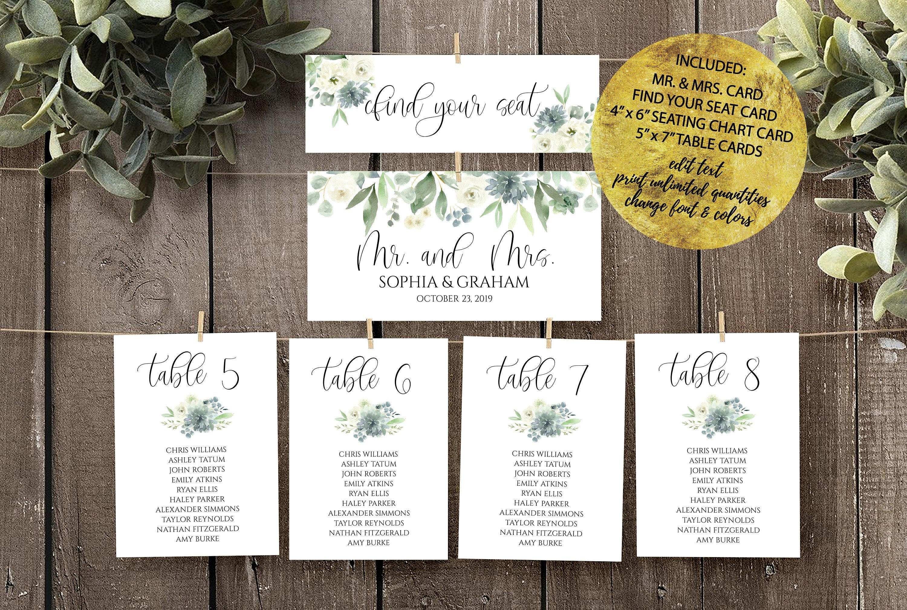 Wedding Seating Chart Cards Template Succulent Dusty Blue Etsy Seating Chart Wedding Seating Chart Wedding Template Seating Plan Wedding