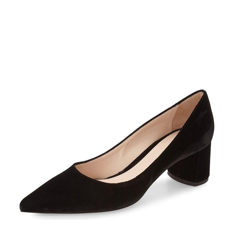 Women Suede Low Heel Pumps Classic Pointy Toe Slip On Formal Block Shoes Black C612o0b59o5 Womens Fashion Shoes Heels Footwear Design Women [ 1500 x 1500 Pixel ]