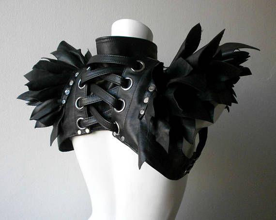 Dream Warriors black leather crop vest/overbust bolero. Ruffle
