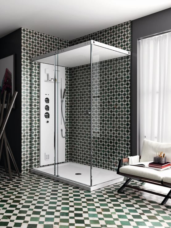 Shower with #turkish bath, lightness, pure shapes and modularity. Love the transparencies and the tiles of this #bathroom