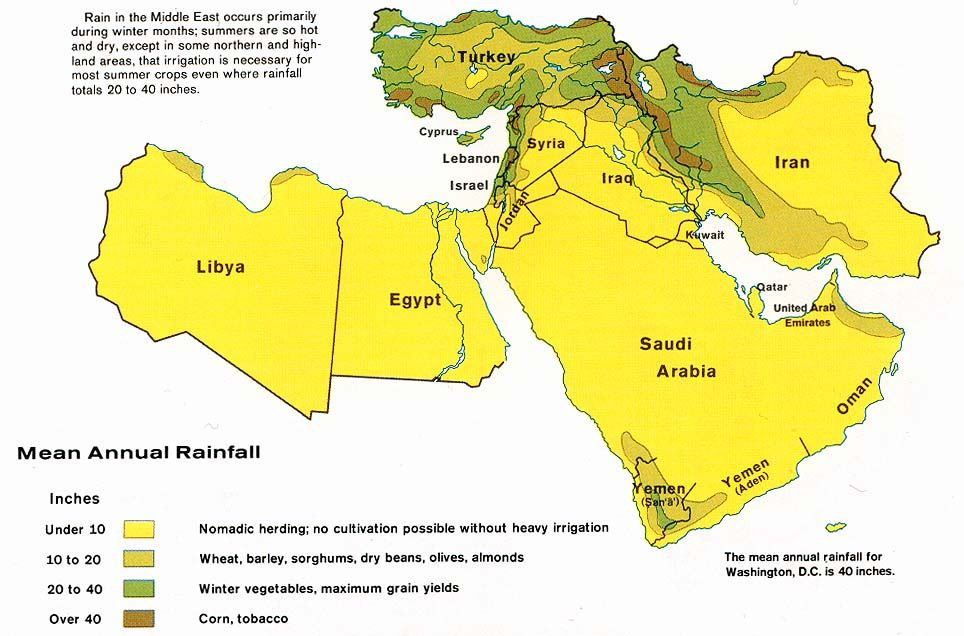 Middle East Rainfall 1973 Desert Map Map Middle East