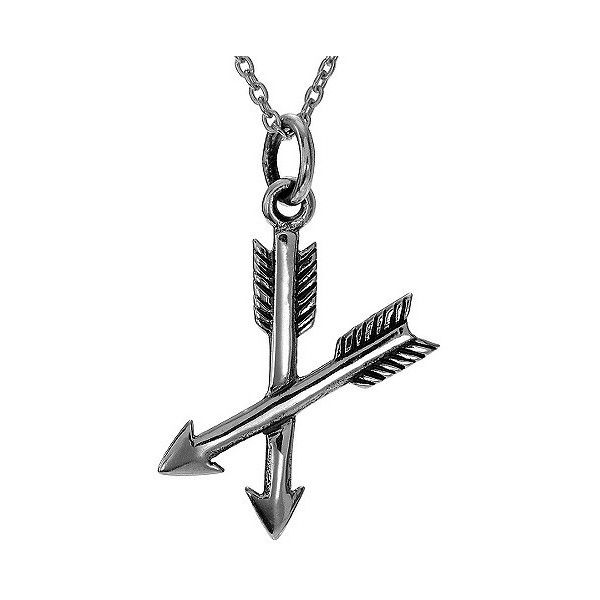 Women's Journee Collection Crossed Arrows Pendant Necklace in Sterling... ($19) ❤ liked on Polyvore featuring jewelry, necklaces, silver, sterling silver pendant necklace, fine jewellery, crucifix necklace, sterling silver jewelry and sterling silver anklet