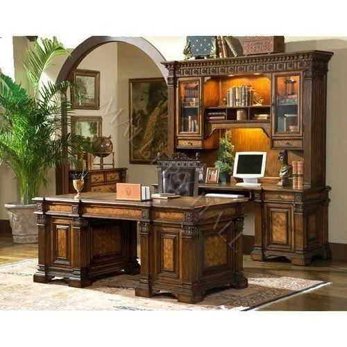 Mahogany Home Library Office: New Zealand Pine Executive Desk Mahogany Leather Top