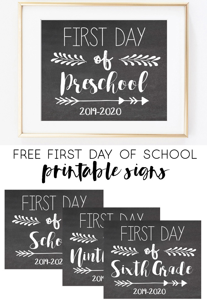 Free First Day of School Printable Signs (2019-2020) #firstdayofschoolsign