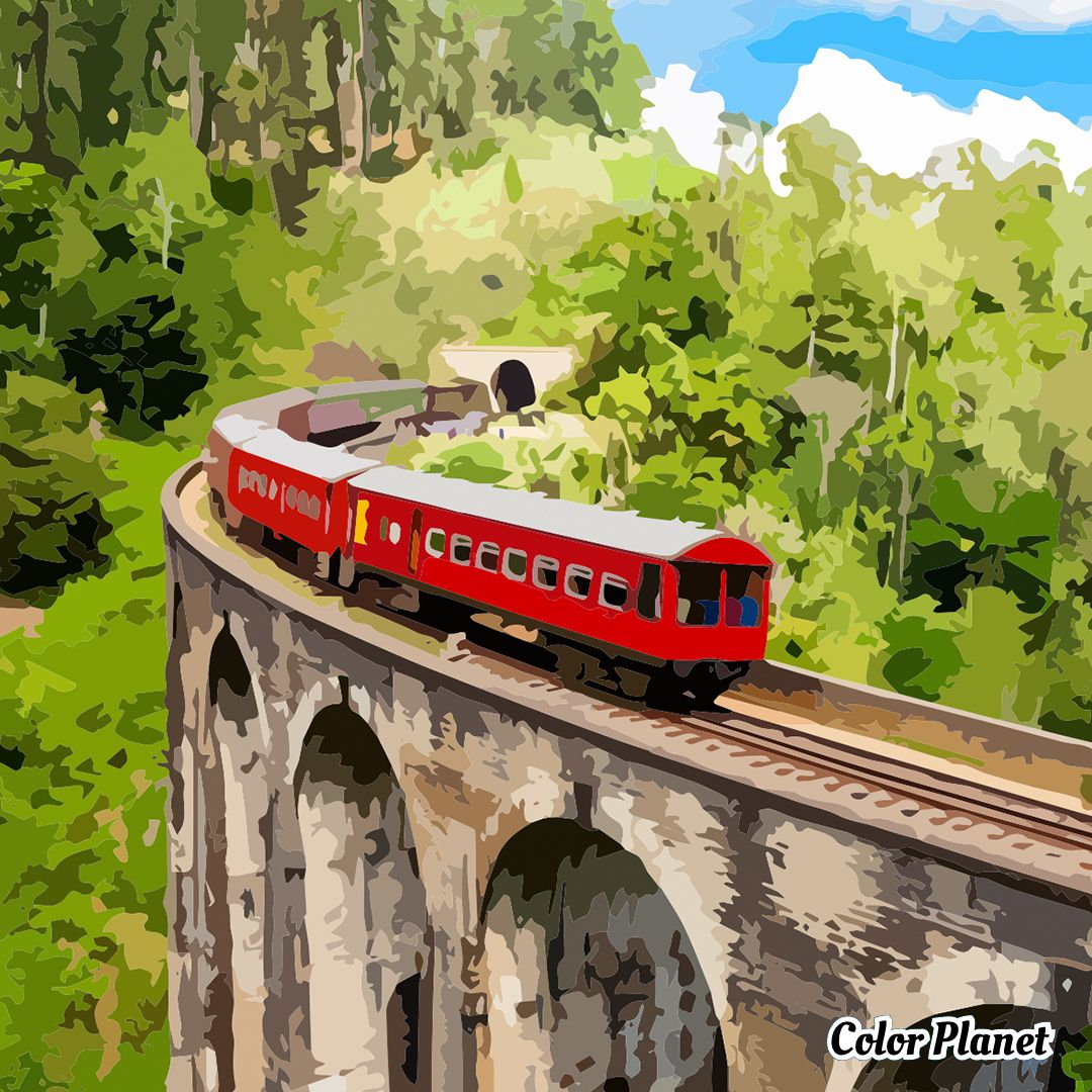 Oil Painting By Color Planet Red Train Oil Painting App Oil Painting Painting
