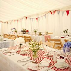 Wedding Tables Yellow Gingham   White Tablecloth With Red Gingham Table  Runner. @Brittany Horton